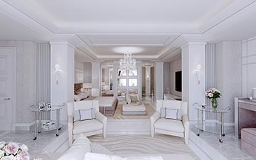 Perspective 3D chambre villa luxe