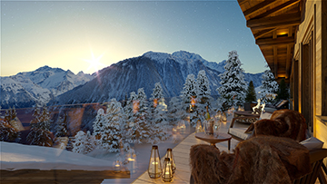 3D visualization of a terrace of a luxurious chalet in the french Alps