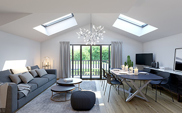 3D perspective of a new-housing interior for its development