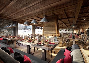 3D interior visualization of a chalet-hotel restaurant