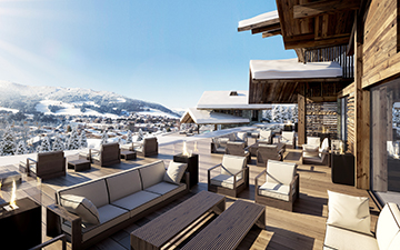 Render of a terrace in 3D for a luxury chalet project in Megeve