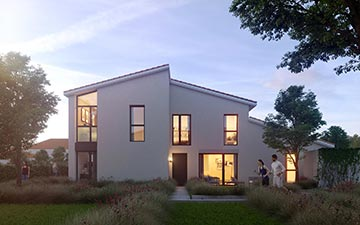 3D visualization of a new housing exterior at sunset - Real estate development