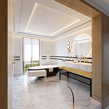 3D Visualization of a luxury villa bathroom - Valentinstudio