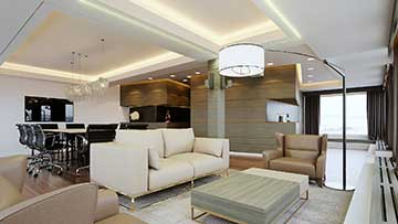 Photo of a 3D perspective of a luxurious VIP office for real estate promotion.