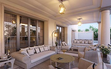 Visualization of a covered terrace for a luxury villa project in Morocco