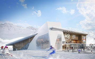 3D exterior visualization of a sports centre in an Alpine landscape - Valentinstudio