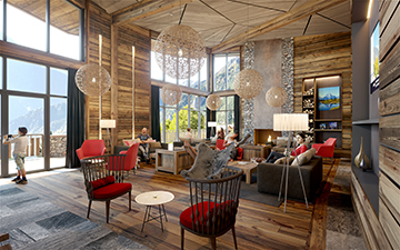 3D render of a hotel-resort reception for a mountain real estate project