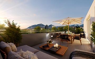 3D terrace visualization in a sunset mood for real estate development - Valentinstudio