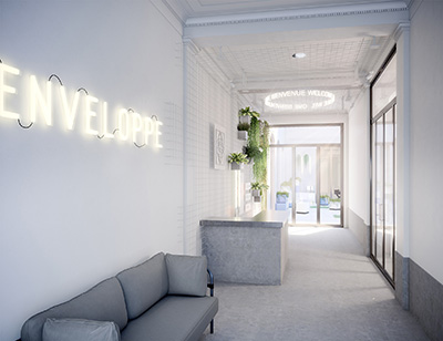 Rendu 3D de l'accueil et entrée d'une entreprise moderne