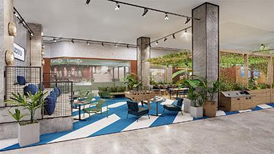 Image de synthèse 3D d'un espace repas original et moderne