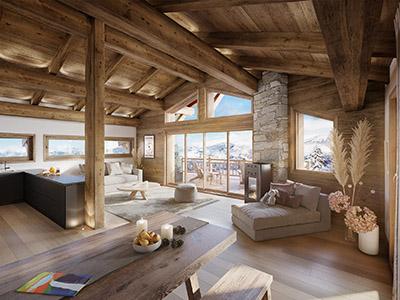 Infographie 3D d'un appartement situé dans un chalet à la montagne