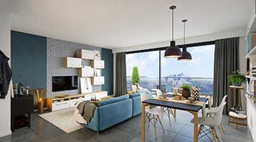 Creation of a 3D perspective of a scandinavian living room in a luxurious apartment.