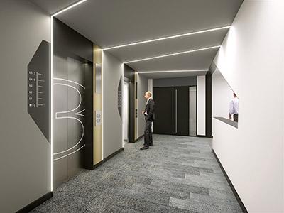 Image 3D d'ascenseurs dans une entreprise