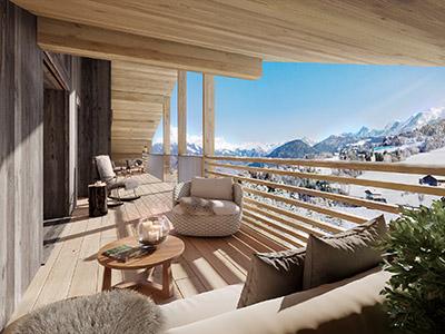 Image de synthèse 3D d'une terrasse avec vue sur la montagne