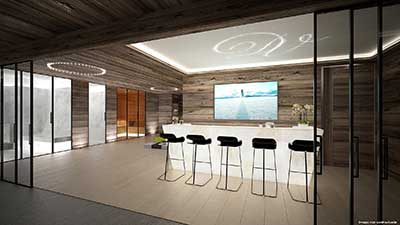 Creation of a 3D rendering of a bar in a luxurious chalet
