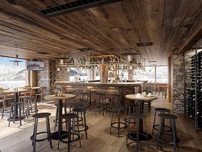 Création 3D de l'intérieur d'un bar rustique de montagne