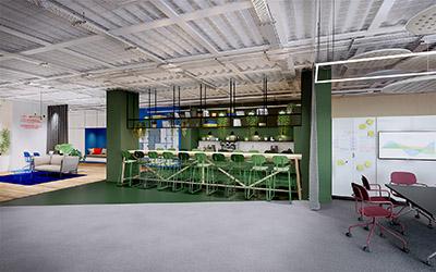 Rendu 3D d'un bar pour se restaurer dans des bureaux
