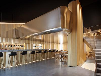 Rendu 3D d'un bar restaurant de luxe