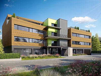 Vue extérieure 3D d'un immeuble moderne servant de bureaux