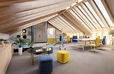 Visualisation 3D des intérieurs de bureaux modernes et conviviaux