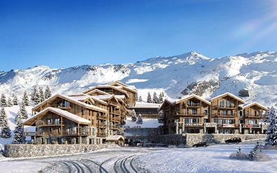 Création 3D d'un ensemble d'immeubles type chalet dans la montagne enneigée