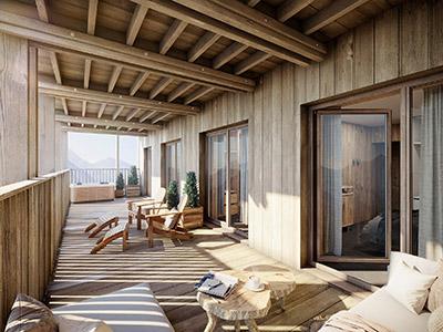 Image de synthèse 3D d'une terrasse de chalet