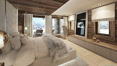 3D View Perspective of a room of a luxurious chalet in the mountains