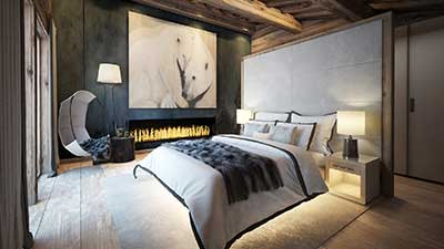 Real estate promotion : 3D Rendering of the living room of a luxurious chalet in Chamonix.