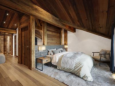 Visualisation 3D d'une chambre de chalet de montagne, luxueuse et confortable