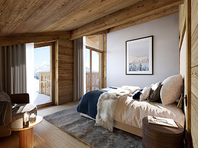 Représentation 3D d'une chambre de chalet à Chamonix