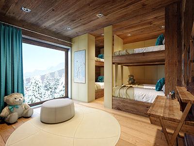 Infographie 3D d'une chambre d'enfant dans un chalet de montagne