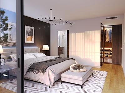 Perspective 3D d'une chambre d'appartement neuf à Carqueiranne