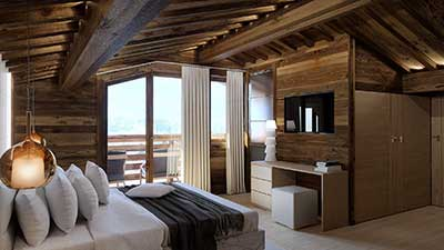 3D Rendering of a room in a luxurious chalet in the mountains.