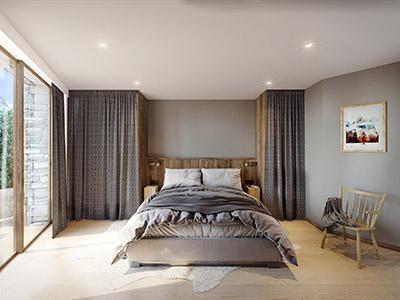 Visualisation 3D d'une chambre moderne dans un chalet