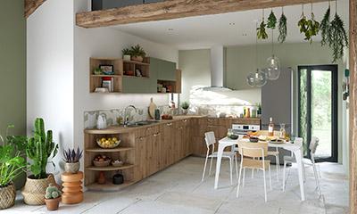 Perspective 3D d'une cuisine verte et bois moderne
