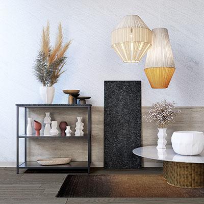Rendu 3D des détails d'une cuisine : meuble de rangement, table et décorations
