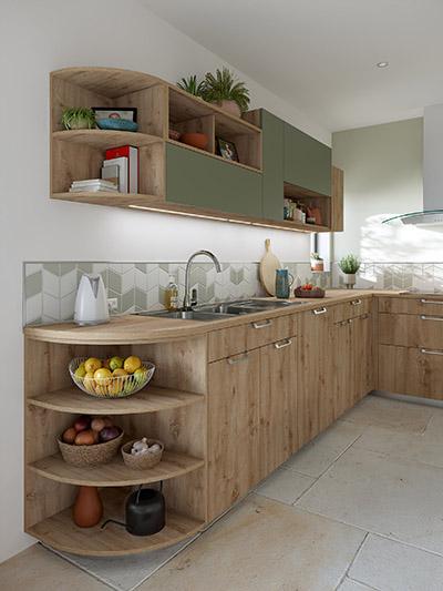 Image 3D d'une cuisine verte et en bois moderne avec rangements