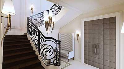 3D Image of the entrance of a Haussmann type villa.