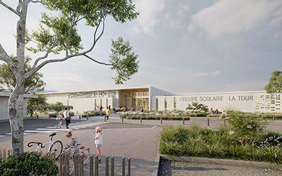 Rendu 3D d'une école et de sa rue piétonne