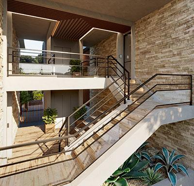 Escaliers et entrées d'appartement luxueux réalisés en 3D