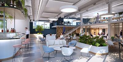Visualisation 3D d'un espace de détente et de repas moderne en entreprise