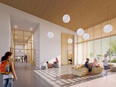 Visualisation 3D d'un hall d'école moderne avec des enfants