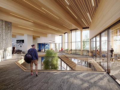 Visualisation 3D d'un hall d'entreprise moderne avec des personnages