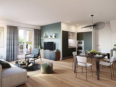Image de synthèse 3D des intérieurs d'un appartement moderne
