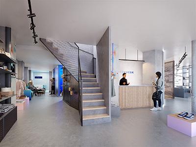Rendu 3D de l'intérieur d'un magasin design et moderne