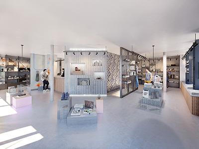 Image 3D d'un magasin de chaussures industriel et design