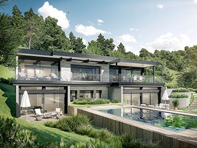 Vue 3D d'une maison individuelle moderne et luxueuse avec piscine