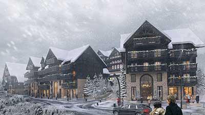 Perspective Chalet de luxe sous la neige avec incrustation de personnes réelles.
