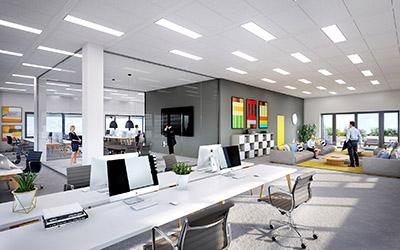 Image de synthèse 3D de bureaux en open space