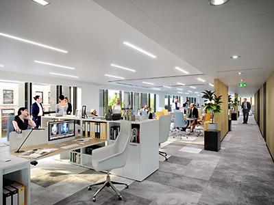 Image 3D de bureaux dans une entreprise du tertiaire